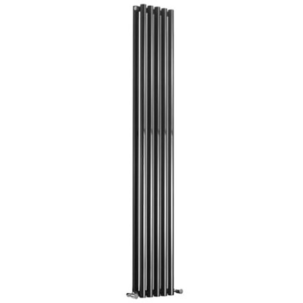 Reina Round Double Designer Vertical Radiator 1800mm H x 295mm W White