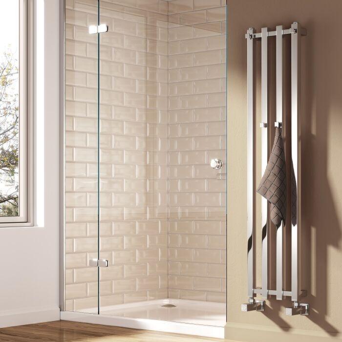 Reina Todi Designer Heated Towel Rail 800mm H x 260mm W Chrome