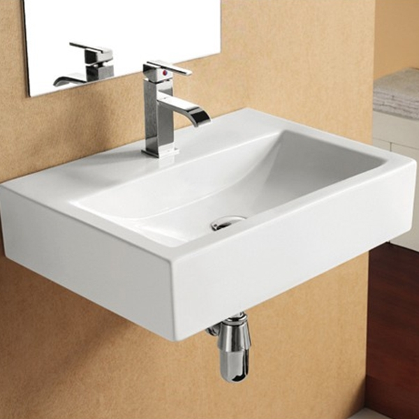 Roca Access Wall Hung Basin 600mm W - 0 Tap Hole-0