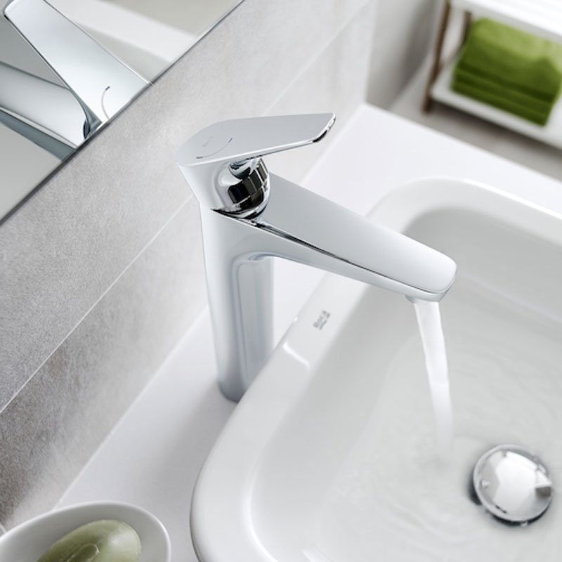 Roca Atlas Cold Start Body Extended Basin Mixer Tap - Chrome