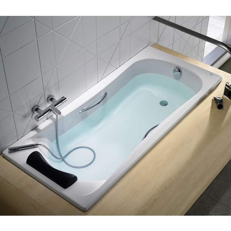 Roca Becool Single Ended Rectangular Bath with Grips and Headrest 1700mm x 800mm - 0 Tap hole