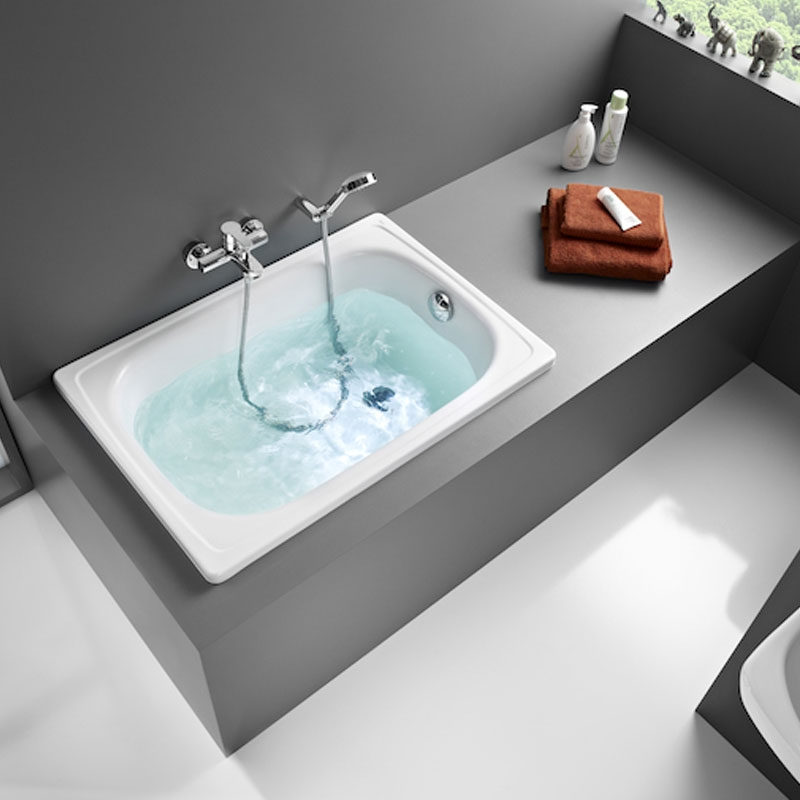 Roca Contesa Single Ended Rectangular Steel Hip Bath 1000mm x 700mm - 0 Tap Hole