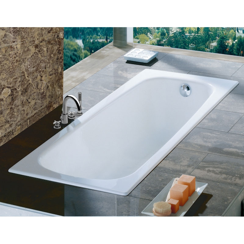 Roca Contesa Anti-Slip Single Ended Steel Bath 1600mm x 700mm - 0 Tap Hole