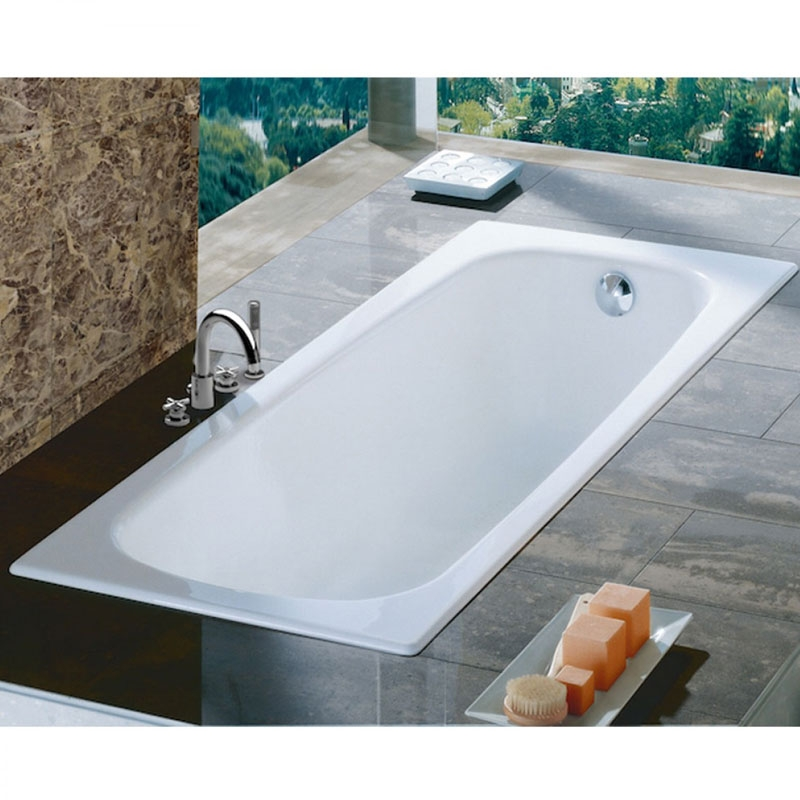 Roca Contesa Anti-Slip Single Ended Steel Bath 1600mm x 700mm - 2 Tap Hole