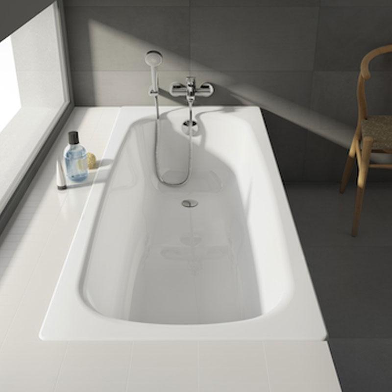 Roca Contesa Single Ended Steel Bath with Leg Set 1600mm x 700mm - 2 Tap Hole-1