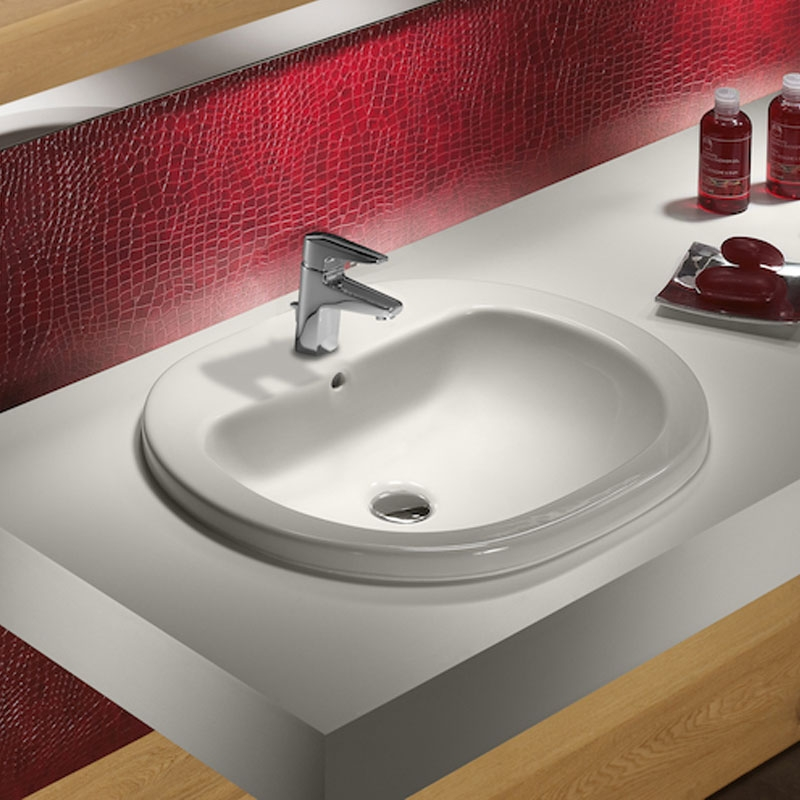 Roca Coral Inset Countertop Basin 560mm W - 1 Tap Hole