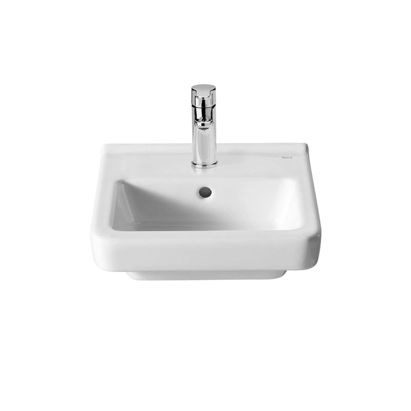 Roca Dama-N Compact Basin and Semi Pedestal, 350mm Wide, 1 Tap Hole