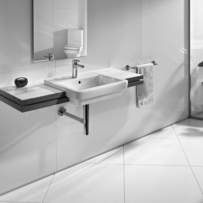Roca Dama-N Compact Semi-Recessed Basin, 520mm Wide, 1 Tap Hole