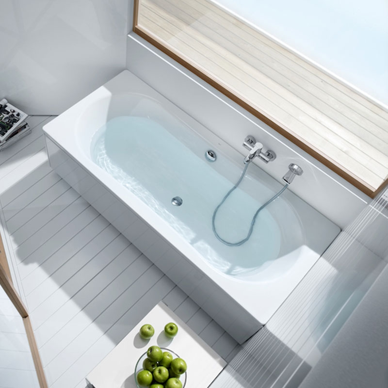 Roca Duo Plus Double Ended Rectangular Steel Bath 1800mm x 800mm - 0 Tap Hole