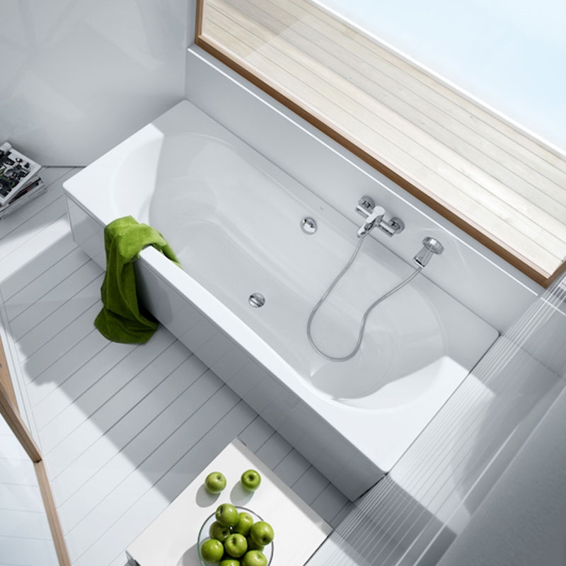 Roca Duo Plus Rectangular Steel Bath with Anti-slip Base 1800mm x 800mm - 0 Tap Hole