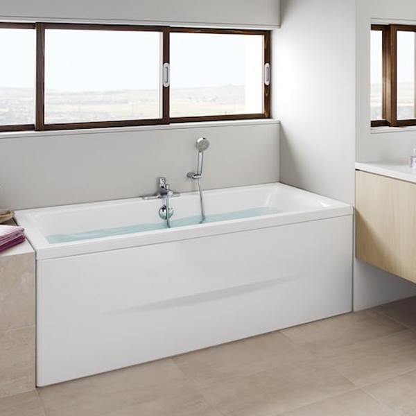 Roca Easy Double Ended Acrylic Bath with Feet 1700mm x 700mm - 0 Tap hole