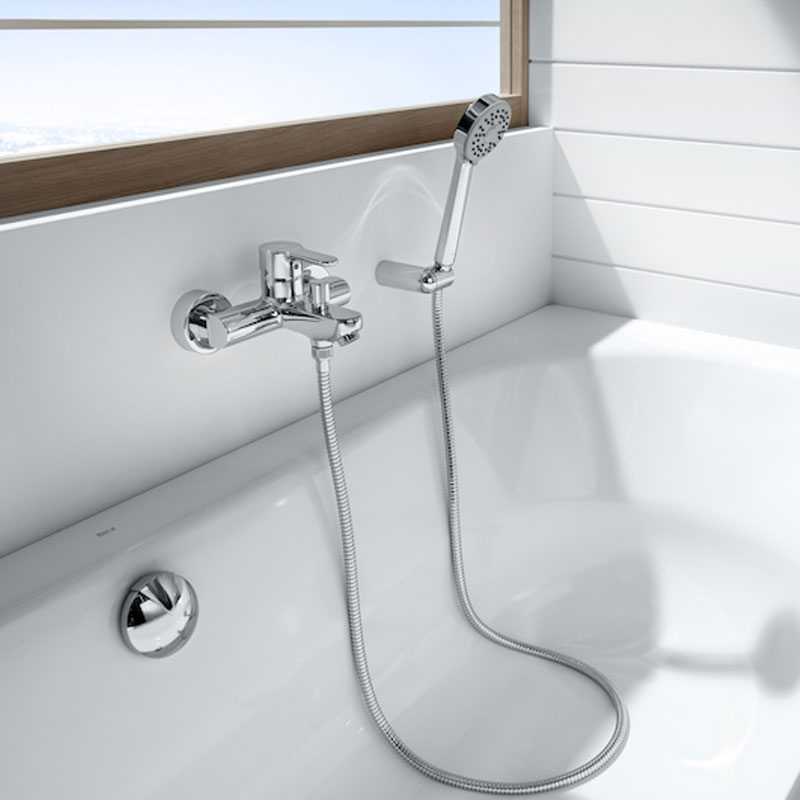 Roca Esmai Bath Shower Mixer with Flexible Shower Hose and Handset - Chrome-0