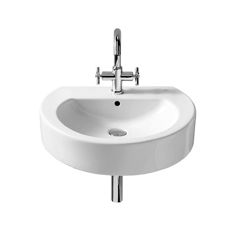 Roca Happening Basin and Full Pedestal, 580mm Wide, 1 Tap Hole