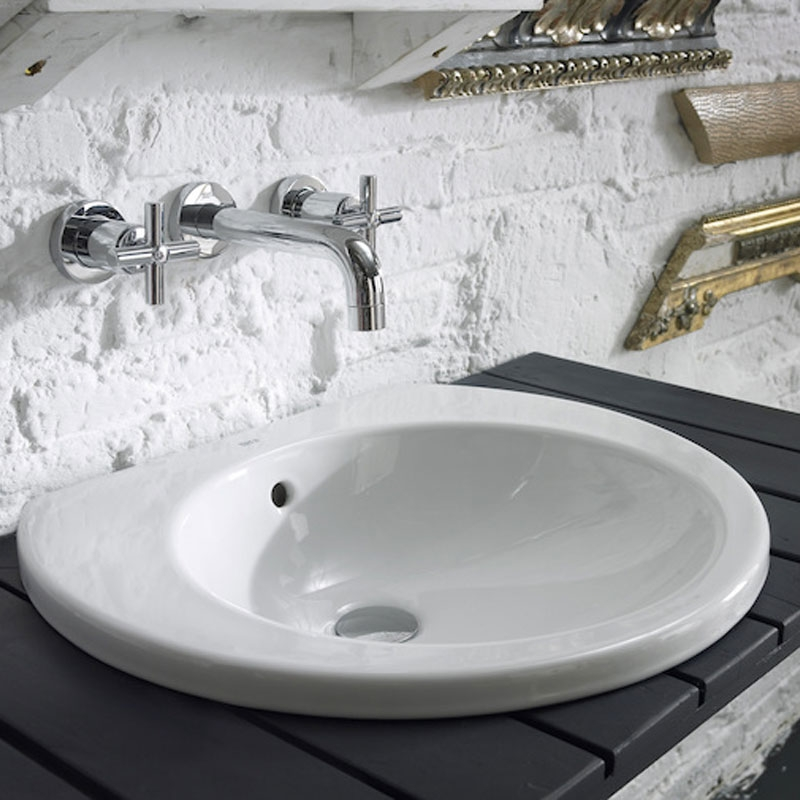Roca Happening Inset Countertop Basin, 520mm Wide, 0 Tap Hole-2