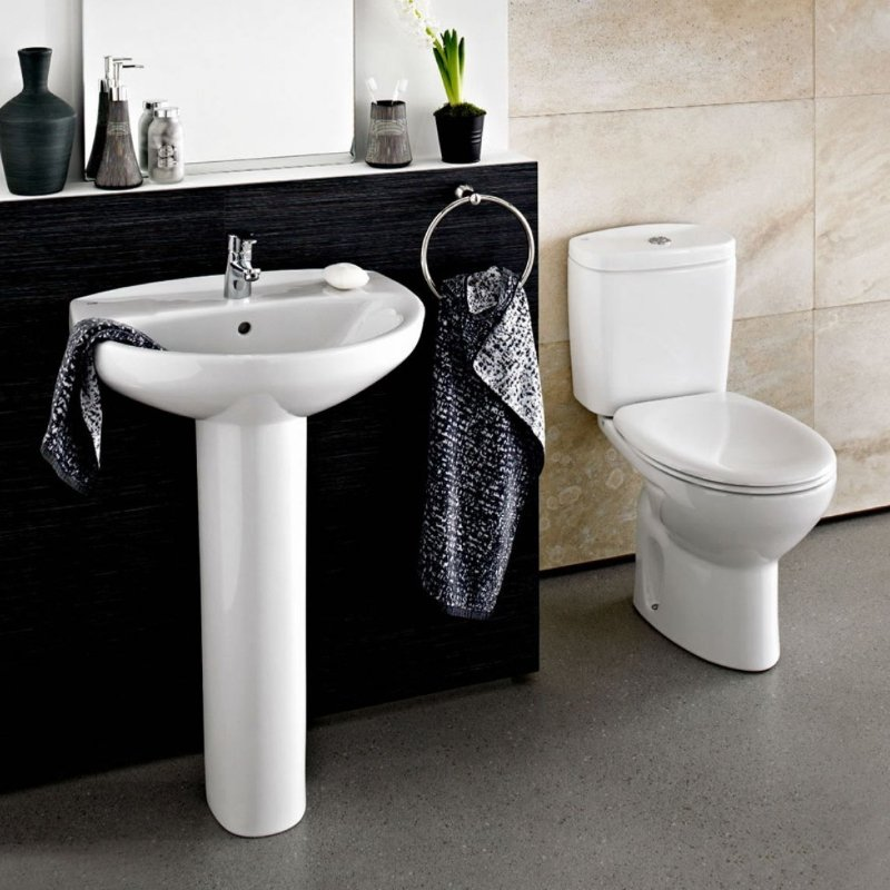 Roca Laura Eco Full Pedestal Basin with Basin Mixer With Pop-Up Waste 560mm W - 1 Tap Hole