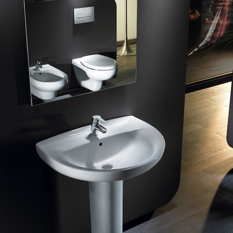 Roca Laura Basin with Full Pedestal, 560mm Wide, 1 Tap Hole