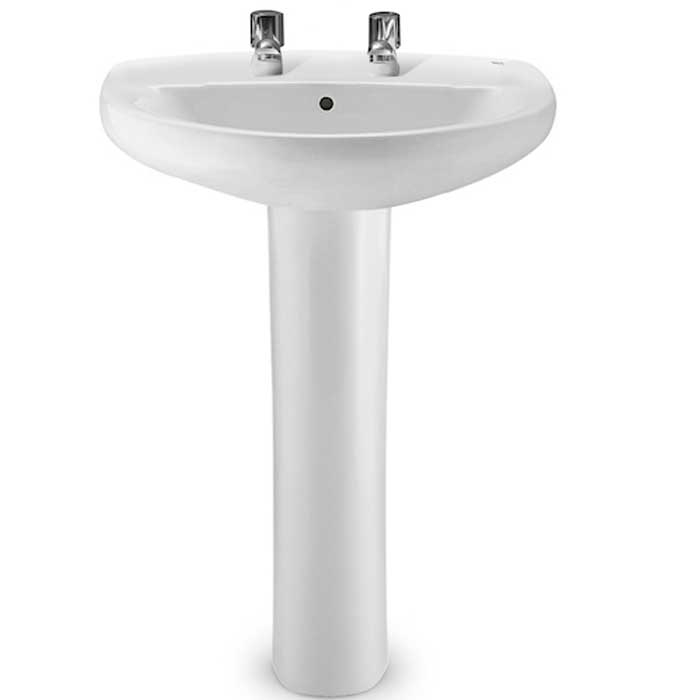 Roca Laura Basin with Full Pedestal 560mm Wide - 2 Tap Hole