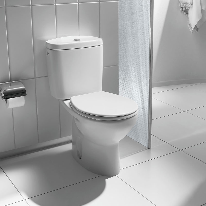 Roca Laura Close-Coupled Eco Toilet, Push Button Cistern, Soft Close Seat