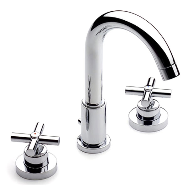 Roca Loft 3 Hole Deck Mounted Basin Mixer Tap with Pop-up Waste - Chrome