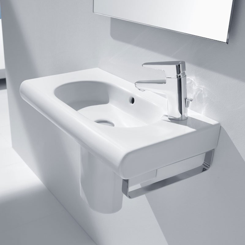 Roca Meridian-N Compact Basin and Semi Pedestal, 450mm Wide, 1 RH Tap Hole-2
