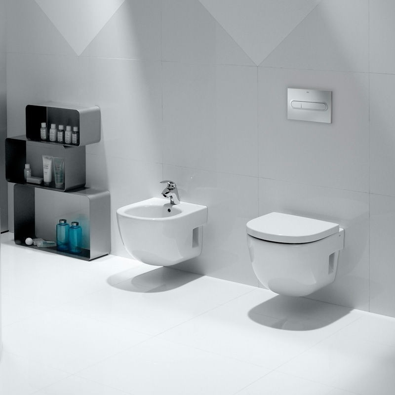 Roca Meridian-N Compact Wall Hung Toilet, 480mm Projection, Soft Close Seat-1