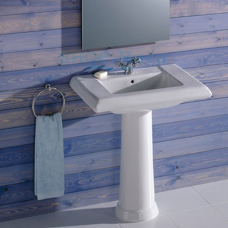 Roca New Classical Basin and Full Pedestal, 750mm Wide, 1 Tap Hole-2
