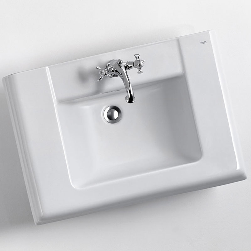 Roca New Classical Wall Hung Basin, 630mm Wide, 1 Tap Hole