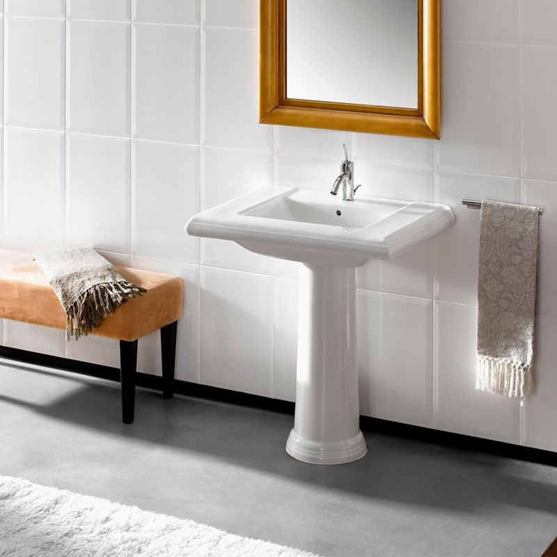 Roca New Classical Basin and Full Pedestal, 630mm Wide, 1 Tap Hole-3