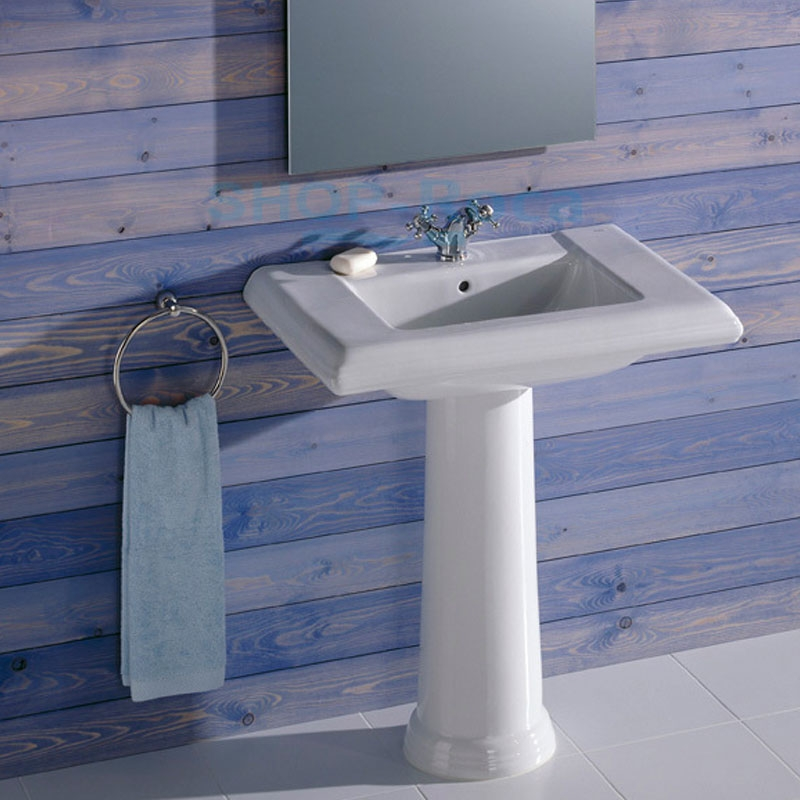 Roca New Classical Basin and Full Pedestal, 630mm Wide, 1 Tap Hole-2