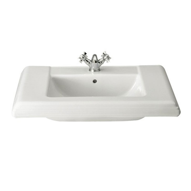Roca New Classical Basin and Full Pedestal, 630mm Wide, 1 Tap Hole