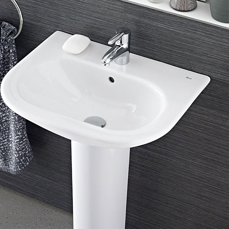 Roca Nexo Basin & Full Pedestal 550mm Wide 1 Tap Hole