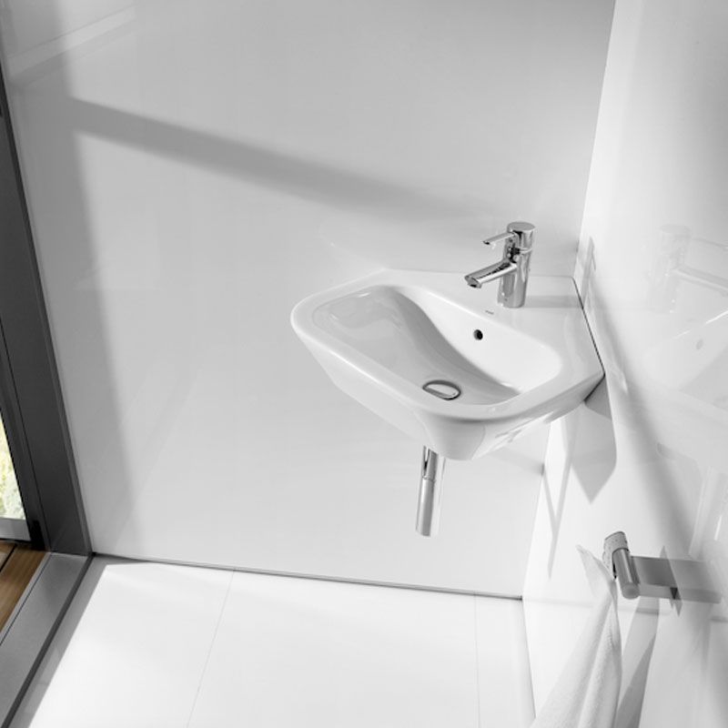 Roca Nexo Corner Wall Hung Basin 500mm Wide 1 Tap Hole White