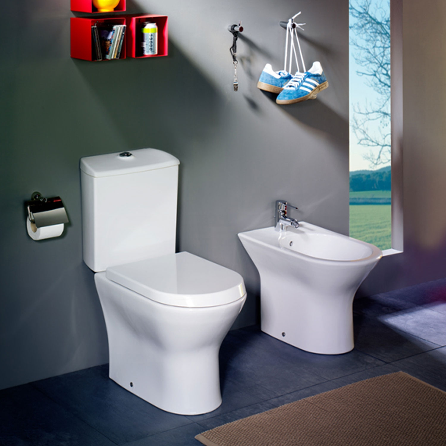 Roca Nexo Compact Closed Coupled Toilet WC Push Button Cistern - Standard Seat-0