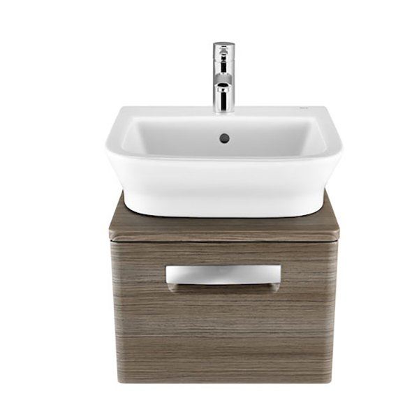 Roca The Gap 1-Drawer Bathroom Vanity Unit with Basin 450mm W - Dark Wood