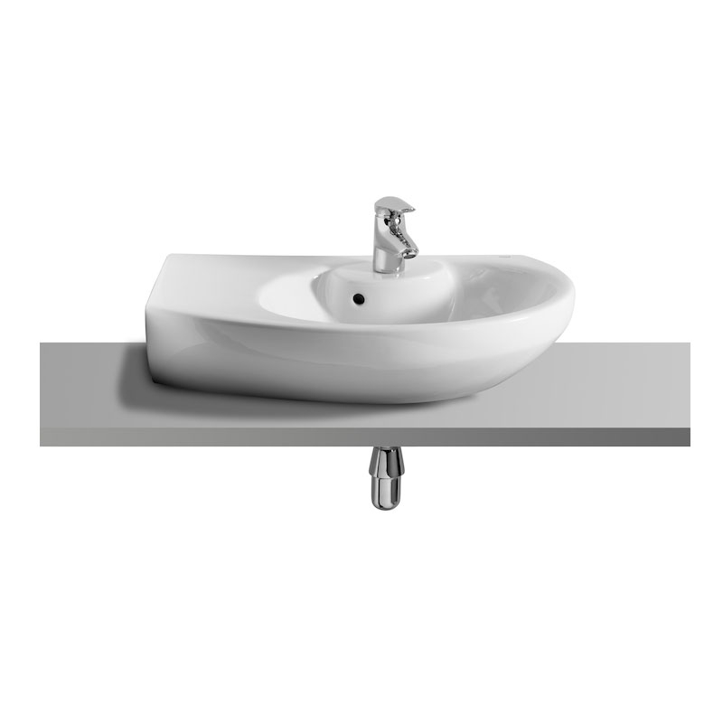 Roca Senso Compact LH Wall Hung Corner Basin, 680mm Wide, 1 Tap Hole-0
