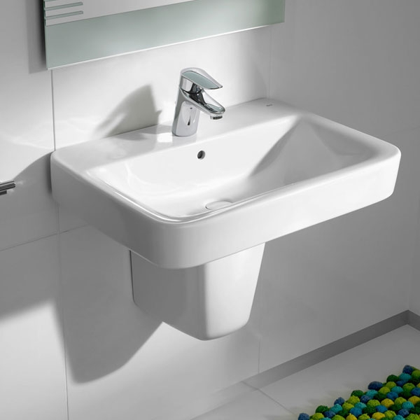 Roca Senso Square Wall Hung Basin, 650mm Wide, 1 Tap Hole