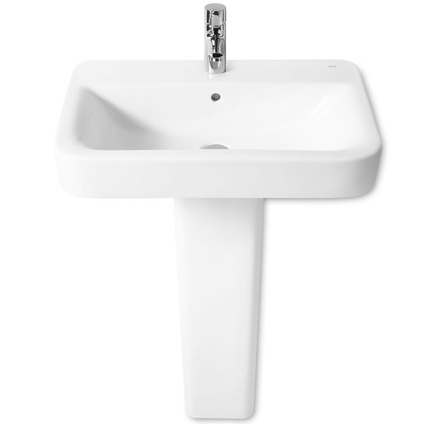 Roca Senso Square Basin and Full Pedestal, 650mm Wide, 1 Tap Hole