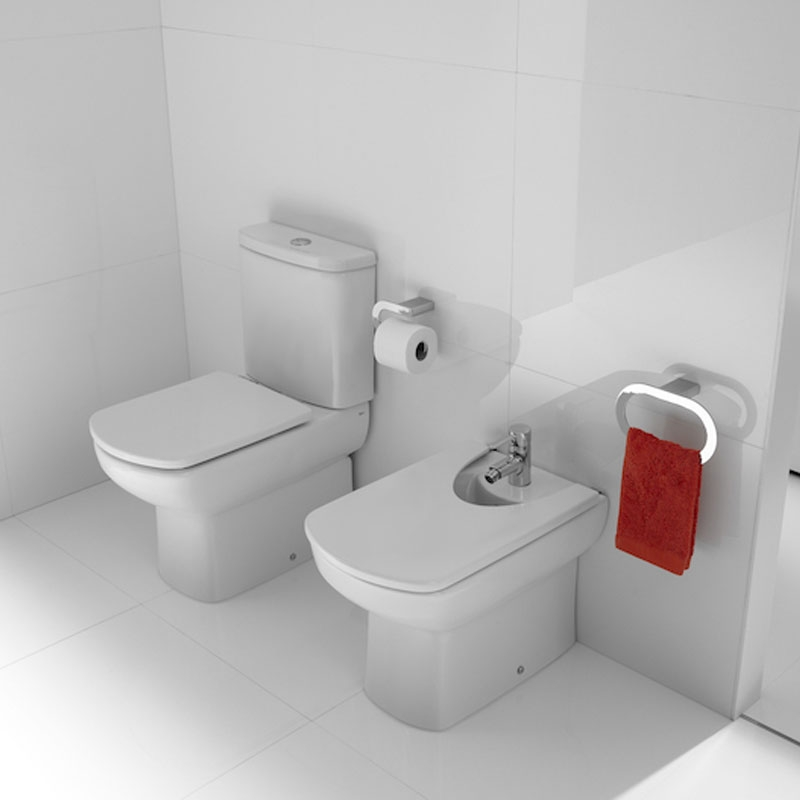 Roca Senso Compact Eco Close Coupled Toilet with Dual Outlet Push Button Cistern, Standard Seat