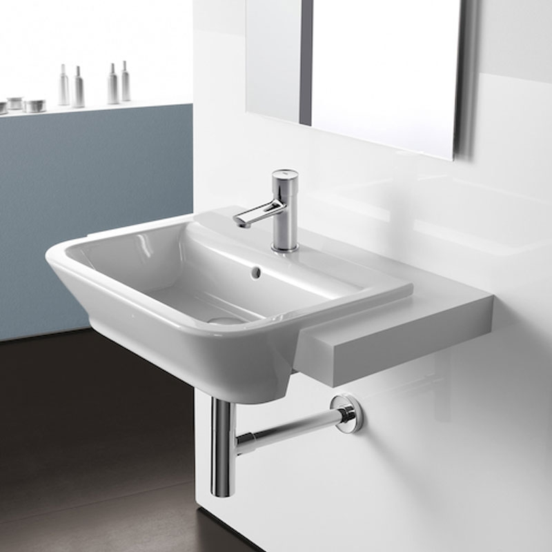 Roca Sprint Self-Closing Basin Pillar Faucet with Push Button and Flow Regulator - Chrome