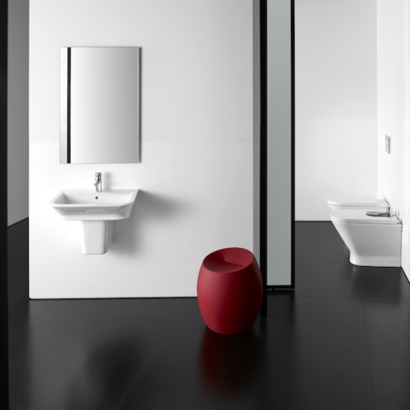 Roca The Gap Wall Hung Basin with Semi Pedestal 550mm W - 0 Tap Hole
