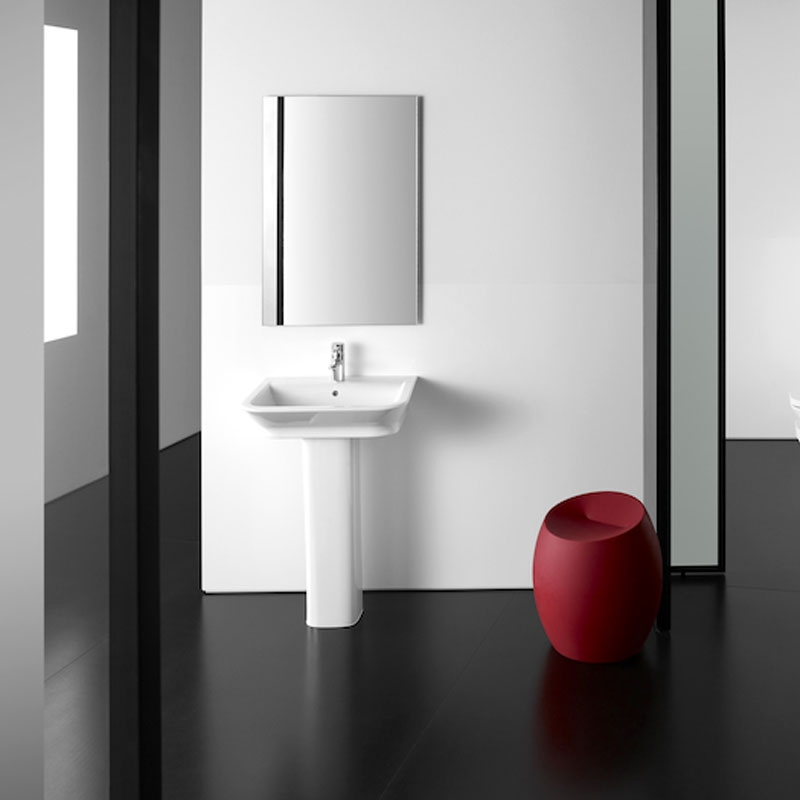 Roca The Gap Wall Hung Basin with Full Pedestal 450mm W - 0 Tap Hole