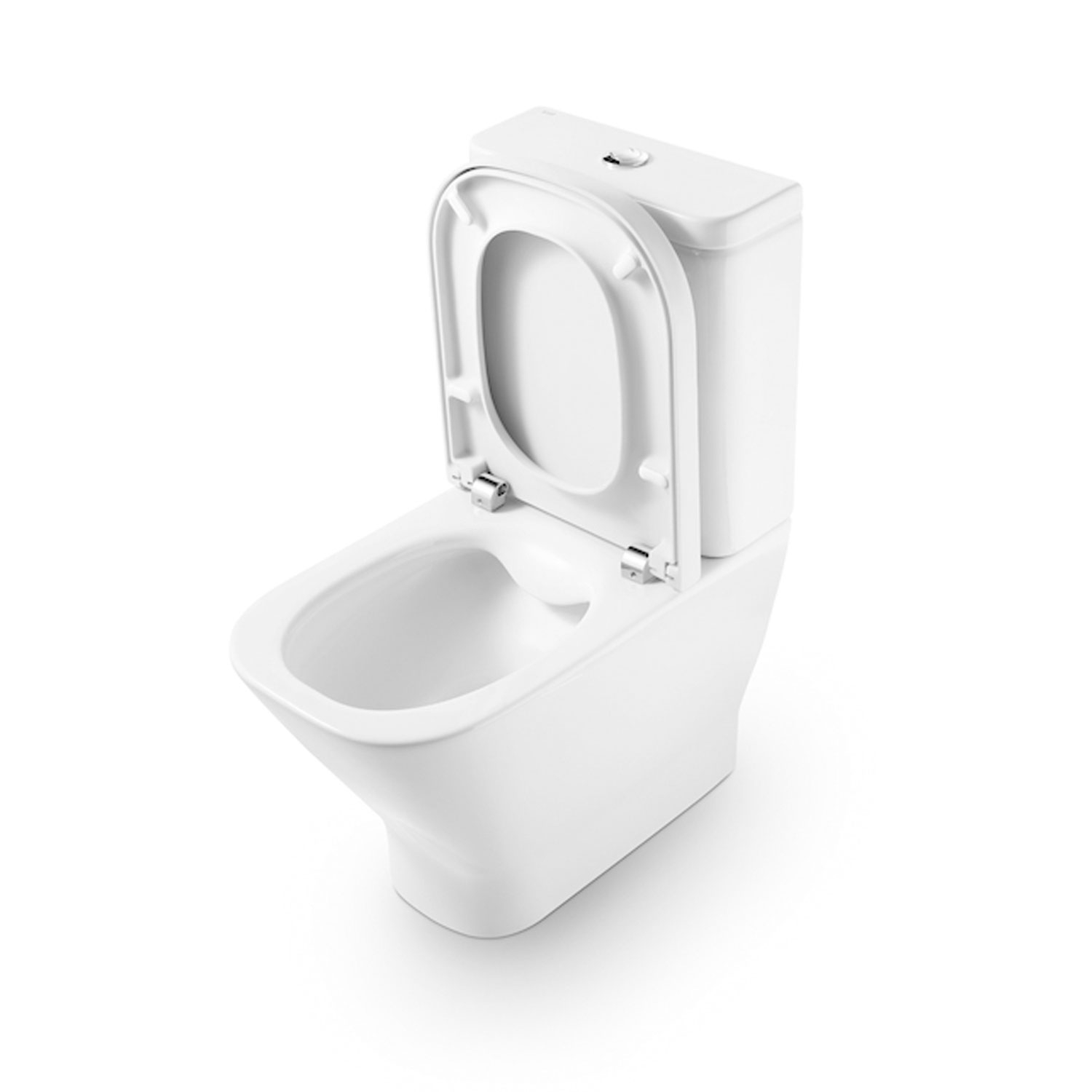 Roca The Gap Cleanrim Close Coupled Toilet with Dual Outlet Push Button Cistern, Soft Close Seat