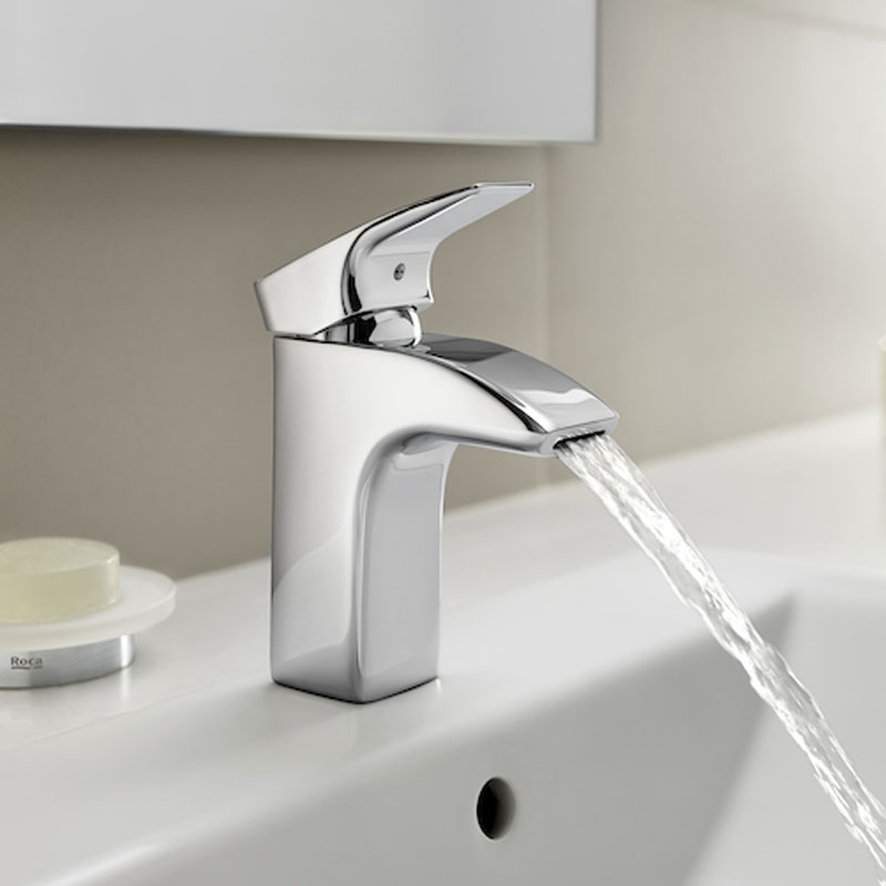 Roca Thesis Basin Mixer Tap with Retractable Chain - Chrome