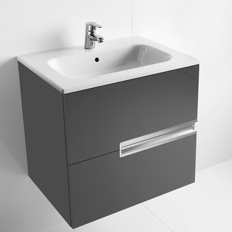 Roca Victoria-N Unik 2-Drawers Vanity Unit with Basin 800mm Wide Gloss Grey 1 Tap Hole-0