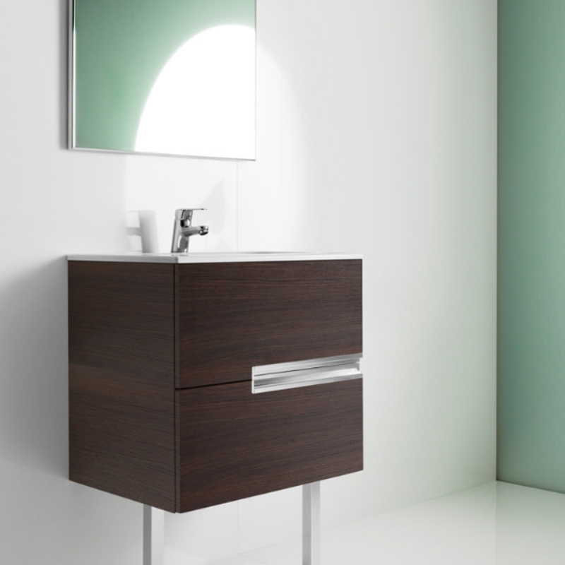 Roca Victoria-N Unik 2-Drawers Vanity Unit with Basin 800mm Wide Textured Wenge 1 Tap Hole-0