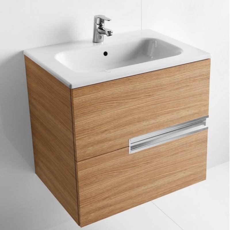 Roca Victoria-N Unik 2-Drawers Vanity Unit with Basin 800mm Wide Textured Oak 1 Tap Hole