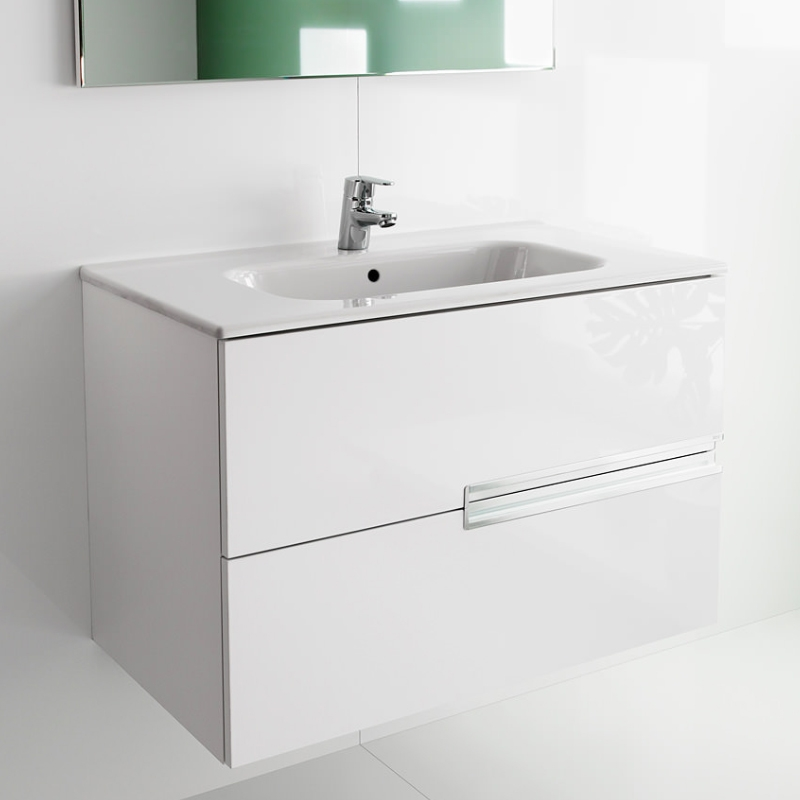 Roca Victoria-N Unik 2-Drawers Vanity Unit with Basin 800mm Wide Gloss White 1 Tap Hole-0