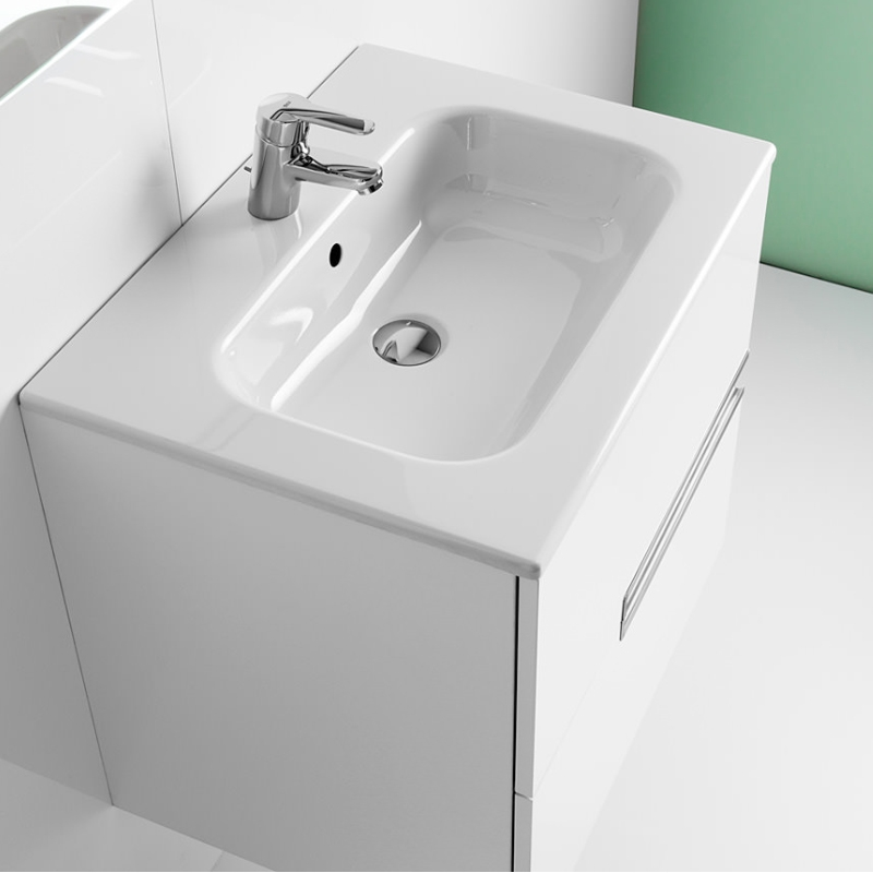Roca Victoria-N Unik 2-Drawers Vanity Unit with Basin 700mm Wide Gloss White 1 Tap Hole