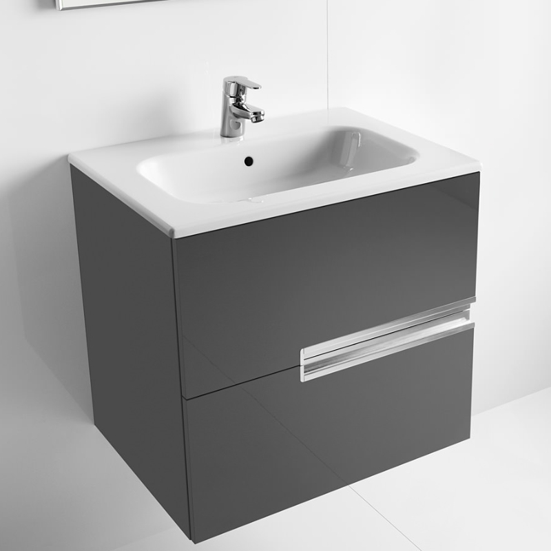 Roca Victoria-N Unik 2-Drawers Vanity Unit with Basin 600mm Wide Gloss Grey 1 Tap Hole-0