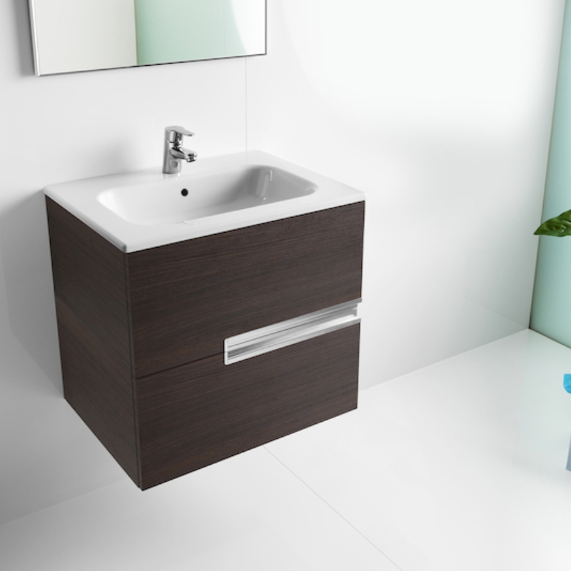 Roca Victoria-N Unik 2-Drawers Vanity Unit with Basin 600mm Wide Textured Wenge 1 Tap Hole-0